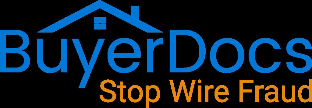 "BuyerDocs logo in blue with ""Stop Wire Fraud"" in orange"