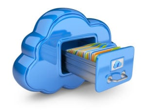 graphic of blue cloud with storage drawer opened in it with colorful files inside