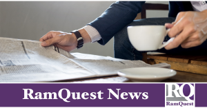 man reading newspaper and drinking coffee, with RamQuest News text below image